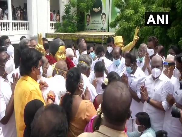 A visual from the 49th foundation day celebration at AIADMK party office in Chennai on Saturday. Photo/ANI