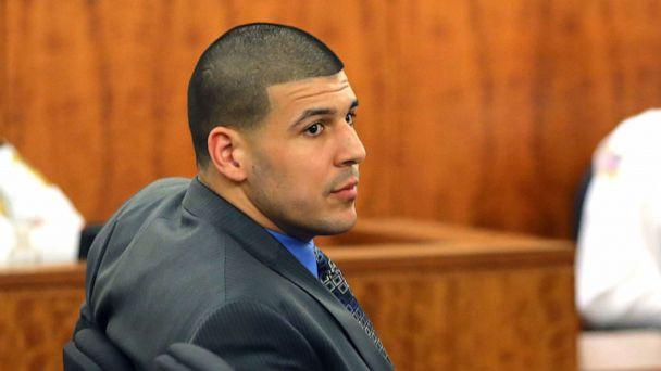 PHOTO: File photo of Aaron Hernandez during closing arguments in his trial for the murder of Odin Llyod at Fall River Superior Court, April 7, 2015. (File/Boston Globe via Getty Images)