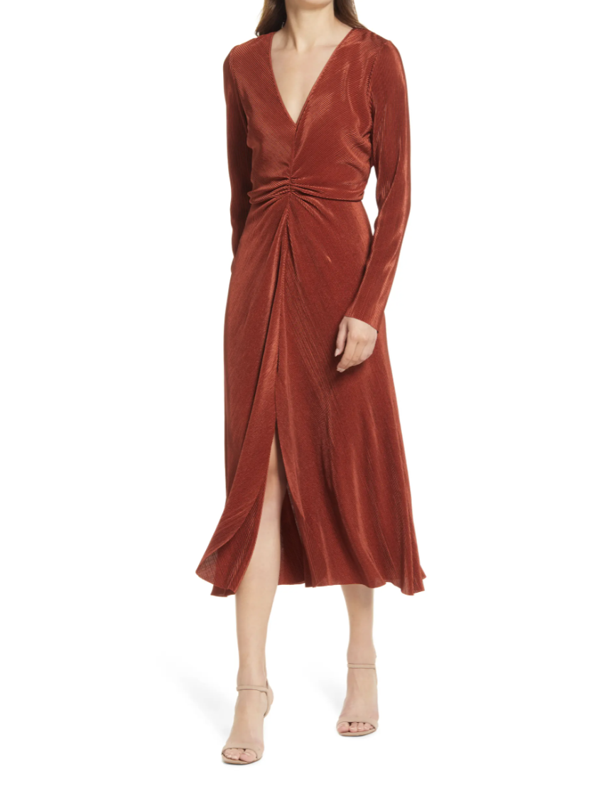 Fall wedding guest dresses: Charles Henry Gathered Long Sleeve A-Line Dress (Photo via Nordstrom)