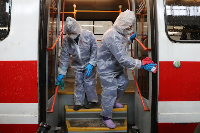 A 'street car' is pictured being disinfected in St Petersburg on 19 March. Russia has had 147 confirmed cases. (Getty Images)