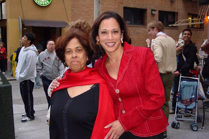 Kamala Harris and her mother, Shyamala, at a parade in 2007.