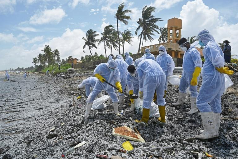 Sri Lankan Navy soldiers worked to remove debris washed ashore from the MV X-Press Pearl
