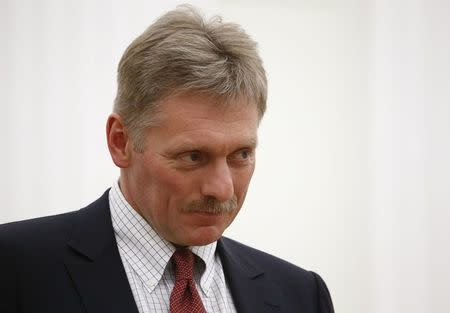 Kremlin spokesman Peskov attends a meeting of Russian President Putin with CEO of Royal Dutch Shell van Beurden in Moscow