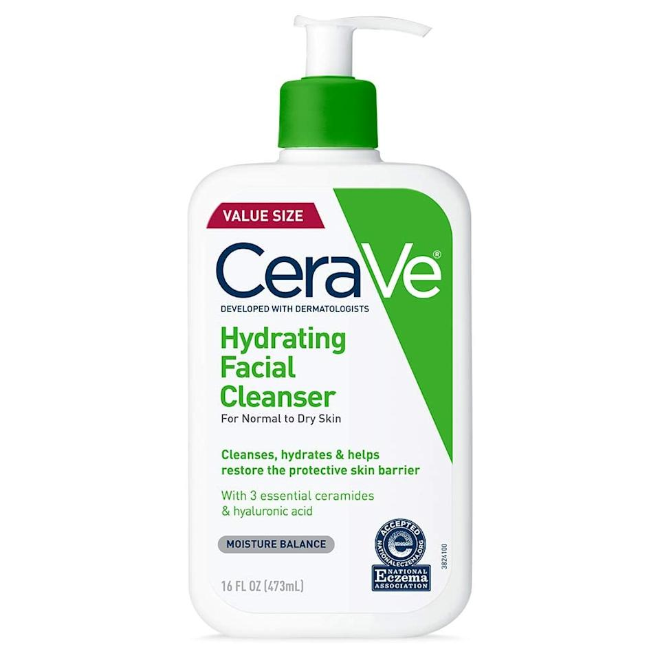 "<p>Cleanse with a gentle cleanser such as the <a href=""https://www.popsugar.com/buy/Cerave-Hydrating-Cleanser-327884?p_name=Cerave%20Hydrating%20Cleanser&retailer=amazon.com&pid=327884&price=14&evar1=bella%3Aus&evar9=44841591&evar98=https%3A%2F%2Fwww.popsugar.com%2Fphoto-gallery%2F44841591%2Fimage%2F47315270%2FM-Skincare-Routine&list1=beauty%20how%20to%2Cbeauty%20tips%2Cskin%20care&prop13=api&pdata=1"" rel=""nofollow"" data-shoppable-link=""1"" target=""_blank"" class=""ga-track"" data-ga-category=""Related"" data-ga-label=""https://www.amazon.com/CeraVe-Hydrating-Facial-Cleanser-Washing/dp/B01MSSDEPK/ref=sr_1_1_s_it?s=beauty&amp;ie=UTF8&amp;qid=1526304436&amp;sr=1-1&amp;keywords=Cerave+Hydrating+Cleanser"" data-ga-action=""In-Line Links"">Cerave Hydrating Cleanser</a> ($14) or <a href=""https://www.popsugar.com/buy/Neutrogena-Hydro-Boost-Hydrating-Gel-Cleanser-327902?p_name=Neutrogena%20Hydro%20Boost%20Hydrating%20Gel%20Cleanser&retailer=amazon.com&pid=327902&price=8&evar1=bella%3Aus&evar9=44841591&evar98=https%3A%2F%2Fwww.popsugar.com%2Fphoto-gallery%2F44841591%2Fimage%2F47315270%2FM-Skincare-Routine&list1=beauty%20how%20to%2Cbeauty%20tips%2Cskin%20care&prop13=api&pdata=1"" rel=""nofollow"" data-shoppable-link=""1"" target=""_blank"" class=""ga-track"" data-ga-category=""Related"" data-ga-label=""https://www.amazon.com/Neutrogena-Hydro-Boost-Hydrating-Cleanser/dp/B01LETURZI"" data-ga-action=""In-Line Links"">Neutrogena Hydro Boost Hydrating Gel Cleanser</a> ($8). </p> <p>Follow this with a light day moisturizer like <a href=""https://www.popsugar.com/buy/Clinique-Moisture-Surge-327886?p_name=Clinique%20Moisture%20Surge&retailer=clinique.com&pid=327886&price=19&evar1=bella%3Aus&evar9=44841591&evar98=https%3A%2F%2Fwww.popsugar.com%2Fphoto-gallery%2F44841591%2Fimage%2F47315270%2FM-Skincare-Routine&list1=beauty%20how%20to%2Cbeauty%20tips%2Cskin%20care&prop13=api&pdata=1"" rel=""nofollow"" data-shoppable-link=""1"" target=""_blank"" class=""ga-track"" data-ga-category=""Related"" data-ga-label=""https://www.clinique.com/product/1687/50933/skin-care/moisturizers/moisture-surge-72-hour-auto-replenishing-hydrator"" data-ga-action=""In-Line Links"">Clinique Moisture Surge</a> ($19) or <a href=""https://www.popsugar.com/buy/Cetaphil-Daily-Moisturizer-327892?p_name=Cetaphil%20Daily%20Moisturizer&retailer=ulta.com&pid=327892&price=16&evar1=bella%3Aus&evar9=44841591&evar98=https%3A%2F%2Fwww.popsugar.com%2Fphoto-gallery%2F44841591%2Fimage%2F47315270%2FM-Skincare-Routine&list1=beauty%20how%20to%2Cbeauty%20tips%2Cskin%20care&prop13=api&pdata=1"" rel=""nofollow"" data-shoppable-link=""1"" target=""_blank"" class=""ga-track"" data-ga-category=""Related"" data-ga-label=""https://www.ulta.com/daily-facial-moisturizer?productId=prod2045044"" data-ga-action=""In-Line Links"">Cetaphil Daily Moisturizer</a> ($16) followed by an SPF such as <a href=""https://www.popsugar.com/buy/Sun-Bum-Face-Lotion-SPF-50-327893?p_name=Sun%20Bum%20Face%20Lotion%20SPF%2050&retailer=ulta.com&pid=327893&price=13&evar1=bella%3Aus&evar9=44841591&evar98=https%3A%2F%2Fwww.popsugar.com%2Fphoto-gallery%2F44841591%2Fimage%2F47315270%2FM-Skincare-Routine&list1=beauty%20how%20to%2Cbeauty%20tips%2Cskin%20care&prop13=api&pdata=1"" rel=""nofollow"" data-shoppable-link=""1"" target=""_blank"" class=""ga-track"" data-ga-category=""Related"" data-ga-label=""https://www.ulta.com/face-lotion-spf-50?productId=xlsImpprod17761991"" data-ga-action=""In-Line Links"">Sun Bum Face Lotion SPF 50</a> ($13).</p> <p>Alternatively, if you don't like layering too many products, try a moisturizer then a foundation such as <a href=""https://www.popsugar.com/buy/Clarins-Everlasting-Cushion-Foundation-SPF-50-327888?p_name=Clarins%20Everlasting%20Cushion%20Foundation%20SPF%2050&retailer=shop.nordstrom.com&pid=327888&price=44&evar1=bella%3Aus&evar9=44841591&evar98=https%3A%2F%2Fwww.popsugar.com%2Fphoto-gallery%2F44841591%2Fimage%2F47315270%2FM-Skincare-Routine&list1=beauty%20how%20to%2Cbeauty%20tips%2Cskin%20care&prop13=api&pdata=1"" rel=""nofollow"" data-shoppable-link=""1"" target=""_blank"" class=""ga-track"" data-ga-category=""Related"" data-ga-label=""https://shop.nordstrom.com/s/clarins-everlasting-cushion-foundation-spf-50/4710904"" data-ga-action=""In-Line Links"">Clarins Everlasting Cushion Foundation SPF 50</a> ($44) or <a href=""https://www.popsugar.com/buy/Bare-Minerals-Complexion-Rescue-Tinted-Hydrating-Gel-Cream-SPF-30-301604?p_name=Bare%20Minerals%20Complexion%20Rescue%20Tinted%20Hydrating%20Gel%20Cream%20SPF%2030&retailer=selfridges.com&pid=301604&price=33&evar1=bella%3Aus&evar9=44841591&evar98=https%3A%2F%2Fwww.popsugar.com%2Fphoto-gallery%2F44841591%2Fimage%2F47315270%2FM-Skincare-Routine&list1=beauty%20how%20to%2Cbeauty%20tips%2Cskin%20care&prop13=api&pdata=1"" rel=""nofollow"" data-shoppable-link=""1"" target=""_blank"" class=""ga-track"" data-ga-category=""Related"" data-ga-label=""http://www.selfridges.com/US/en/cat/bare-minerals-complexion-rescue-tinted-hydrating-gel-cream-35ml_181-3001277-80567/?previewAttribute=Birch"" data-ga-action=""In-Line Links"">Bare Minerals Complexion Rescue Tinted Hydrating Gel Cream SPF 30</a> ($33) that contains SPF. It's much better to use a separate SPF, though, as in the amounts you use them, foundations and tinted moisturizers will never give you full protection. Remember, SPF protects you from aging as well as burning and it isn't just for sunny days.</p>"