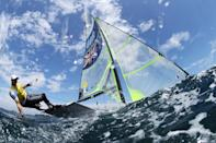 <p>Dylan Fletcher and Stuart Bithell of Team Great Britain head out onto the water to compete in the Men's Skiff 49er class on day six of the Tokyo 2020 Olympic Games at Enoshima Yacht Harbour on July 29, 2021 in Fujisawa, Kanagawa, Japan. (Photo by Clive Mason/Getty Images)</p>