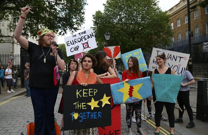 A small group of anti-Brexit demonstrators protest opposite Downing Street in central London following the UK's decision to leave the EU (AFP Photo/Geoff Caddick)