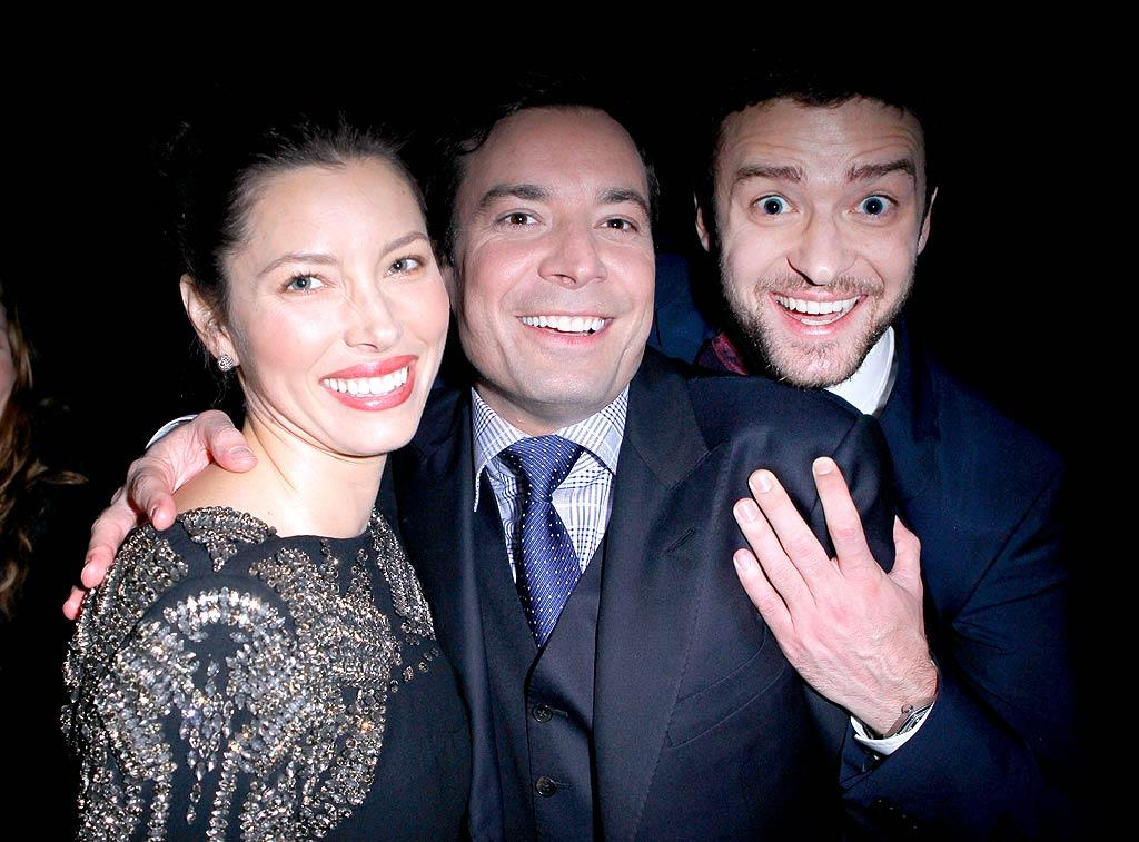 "Jimmy and Justin -- who shared the ""Showman of the Year"" award -- posed with JT's on-again/off-again girlfriend Jessica Biel. (11/17/2011)"