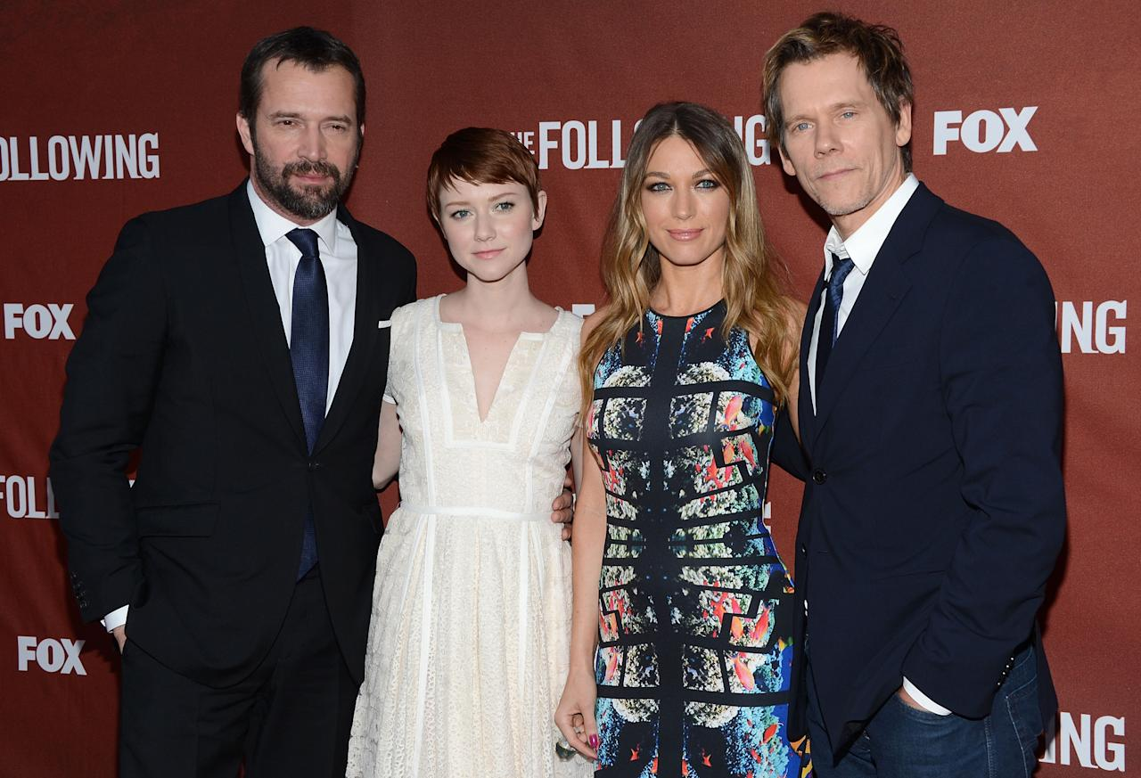 "NORTH HOLLYWOOD, CA - APRIL 29:  Actors James Purefoy, Valorie Curry, Natalie Zea and Kevin Bacon attend the screening of Fox's ""The Following"" at Leonard H. Goldenson Theatre on April 29, 2013 in North Hollywood, California.  (Photo by Jason Kempin/Getty Images)"