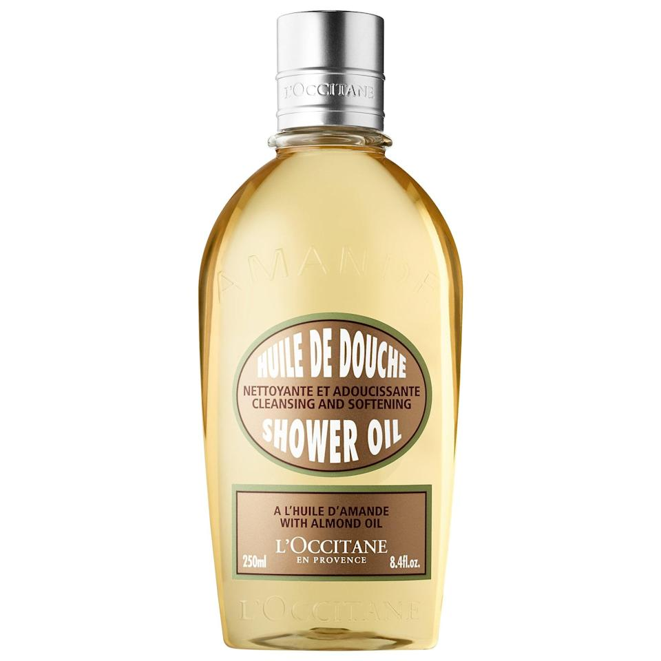 <p>Not only does this fatty-acid-rich <span>L'Occitane Cleansing And Softening Shower Oil With Almond Oil</span> ($10-$25) soothe and soften dry skin as a shower oil, it can also be used as a shave-cream replacement as it turns into a milky foam once water is added.</p>