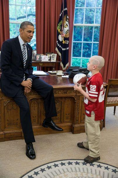 PHOTO: President Barack Obama greets Jack Hoffman, 7, of Atkinson, Neb., in the Oval Office, April 29, 2013. (The White House/Flickr)