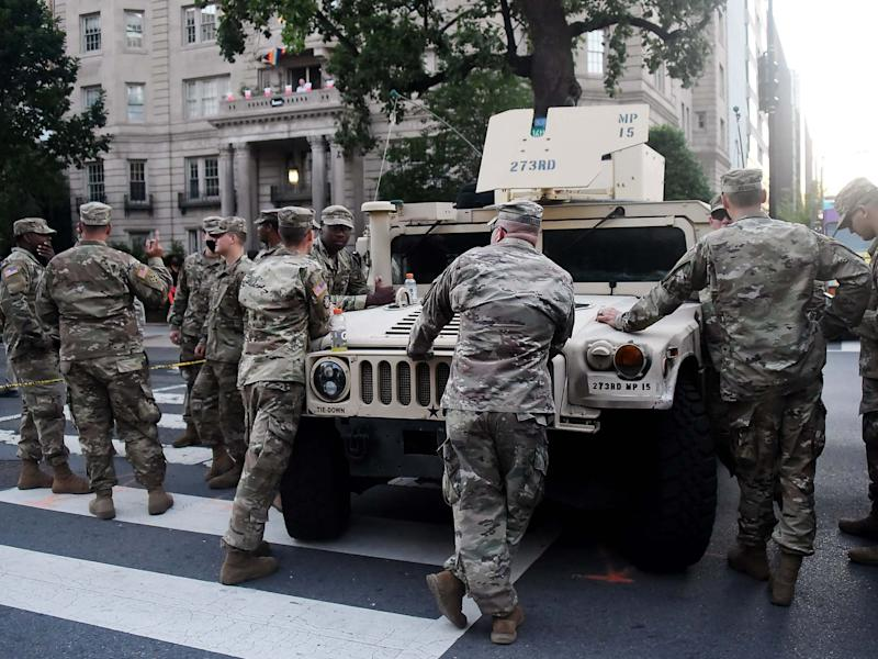 US military outside the White House in June amid anti-racism protests: AFP via Getty Images