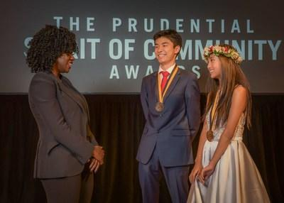 Award-winning actress Viola Davis congratulates Ryan Park, 18, of Honolulu (center) and Chelsea Masaki, 13, of Mililani (right) on being named Hawaii's top two youth volunteers for 2019 by The Prudential Spirit of Community Awards. Ryan and Chelsea were honored at a ceremony on Sunday, May 5 at the Smithsonian's National Museum of Natural History, where they each received a $1,000 award.