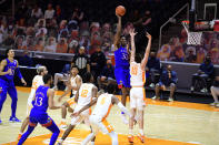 Kansas forward David McCormack (33) shoots over Tennessee forward John Fulkerson (10) during an NCAA college basketball game in Knoxville, Tenn., Saturday, Jan. 30, 2021. (Caitie McMekin/Knoxville News Sentinel via AP, Pool)