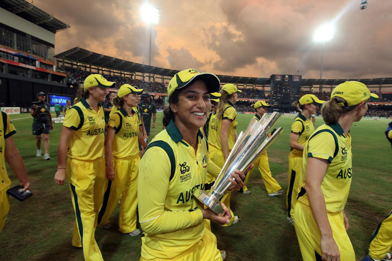 COLOMBO ,SRI LANKA - OCTOBER 7: Lisa Sthalekar  of Australia leads celebrations after defeating England during the ICC Women's World Twenty20 2012 Final between England and Australia at R. Premadasa Stadium on October 7, 2012 in Colombo, Sri Lanka.(Photo by Graham Crouch-ICC/ICC via Getty Images)