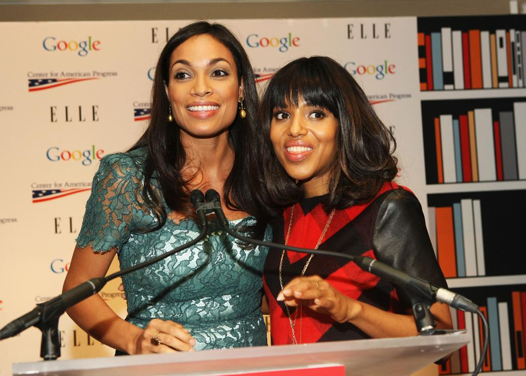 WASHINGTON, DC - JANUARY 20:  Actresses  Rosario Dawson and Kerry Washington attend a celebration of Leading Women in Washington hosted by GOOGLE, ELLE, and The Center For American Progress on January 20, 2013 in Washington, United States.  (Photo by Bennett Raglin/Getty Images for ELLE)