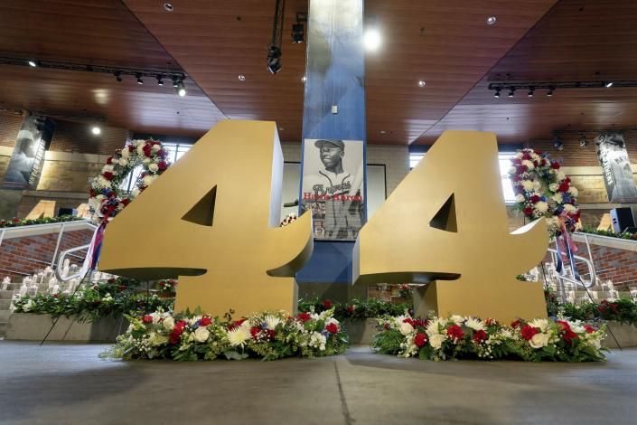 "Decorations are shown during ""A Celebration of Henry Louis Aaron,"" a memorial service celebrating the life and enduring legacy of the late Hall of Famer and American icon, on Tuesday, Jan. 26, 2021, at Truist Park in Atlanta. (Kevin D. Liles/Atlanta Braves via AP Pool)"