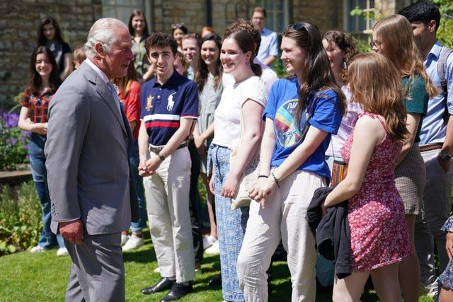 Charles meets students and staff at Somerville College in Oxford