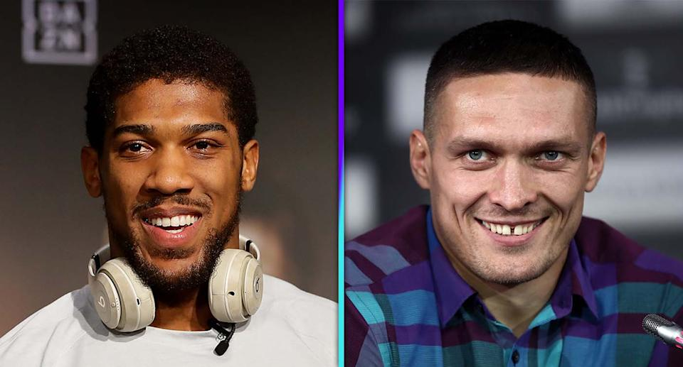 Unified heavyweight champion Anthony Joshua is a -250 favorite at BetMGM to defeat former undisputed cruiserweight champion Oleksandr Usyk in their title fight on Saturday in London. (Getty Images)