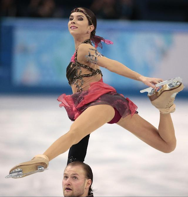 Vera Bazarova and Yuri Larionov of Russia compete in the pairs free skate figure skating competition at the Iceberg Skating Palace during the 2014 Winter Olympics, Wednesday, Feb. 12, 2014, in Sochi, Russia. (AP Photo/Ivan Sekretarev)