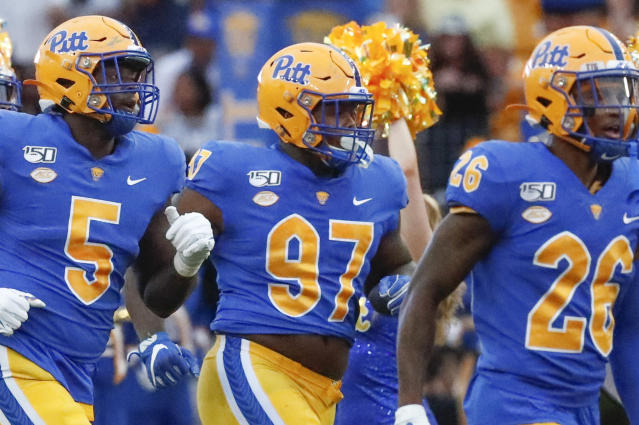 FILE - This Aug. 31, 2019, file photo shows Pittsburgh defensive lineman Jaylen Twyman (97) as he takes the field with his team to play an NCAA football game against Virginia in Pittsburgh. Six ACC teams currently rank in the top 20 nationally in sacks, led by Pittsburgh. Twyman, however, insists he's not keeping count. (AP Photo/Keith Srakocic, File)