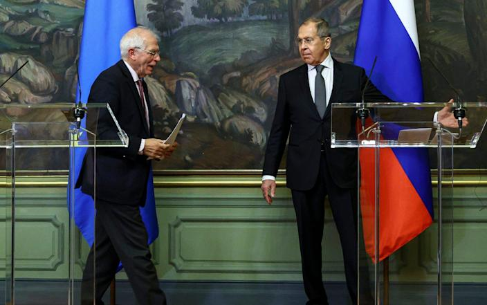 Russian Foreign Minister Sergey Lavrov, right, and High Representative of the EU for Foreign Affairs and Security Policy, Josep Borrell - Russian Foreign Ministry Press Service via AP