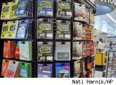 Gift cards on display
