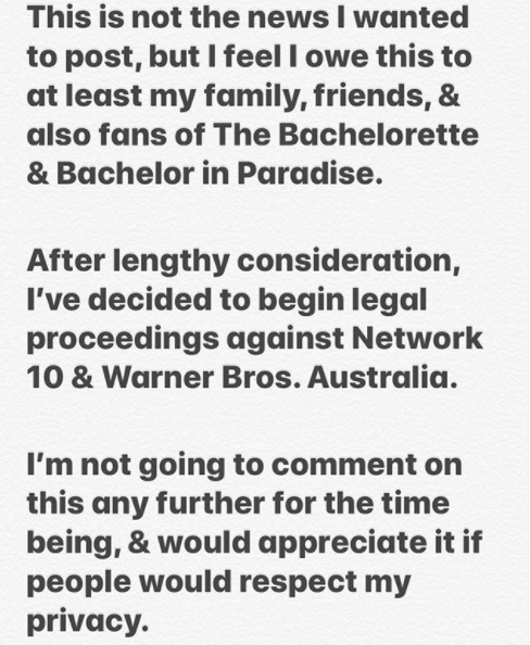 Jamie Doran's Instagram announcement about suing Channel 10
