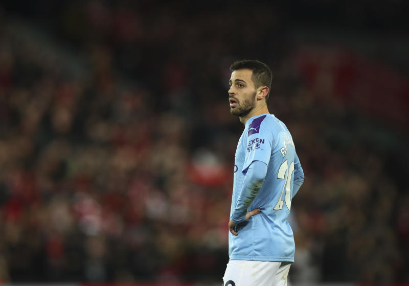 LIVERPOOL, ENGLAND - NOVEMBER 10: Bernardo Silva of Manchester City during the Premier League match between Liverpool FC and Manchester City at Anfield on November 10, 2019 in Liverpool, United Kingdom. (Photo by Robbie Jay Barratt - AMA/Getty Images)