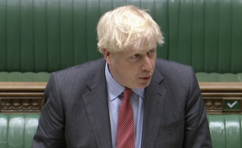 Boris Johnson announcing a raft of new coronavirus measures on Tuesday. (Parliamentlive.tv)