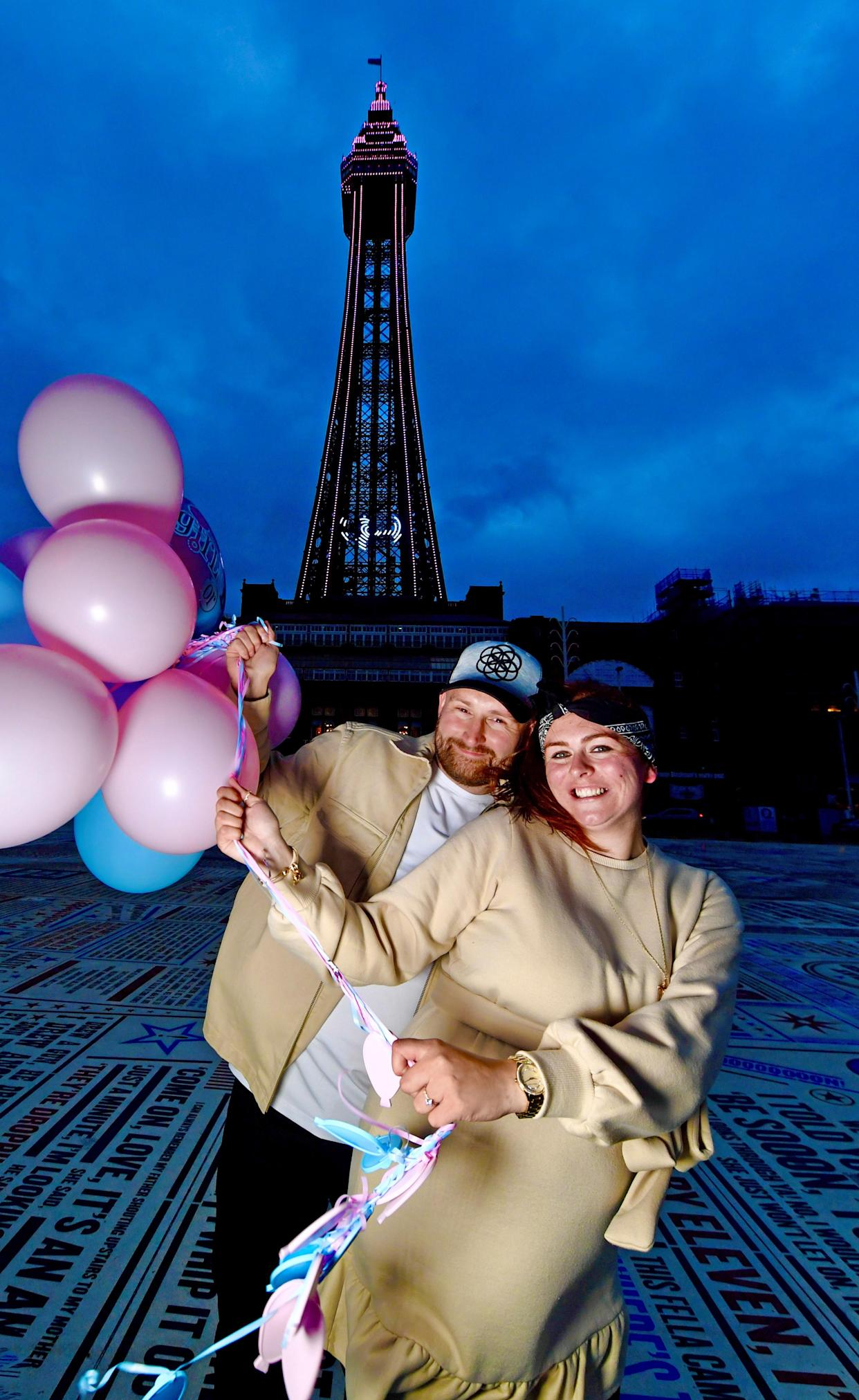 The happy couple after finding out the gender of their baby (Dave Nelson/Visit Blackpool/PA)