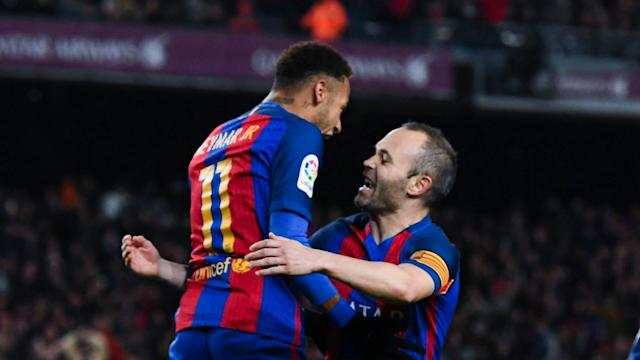 Neymar has been strongly linked with a move to Real Madrid, but Barcelona captain Andres Iniesta says his side would still be better.