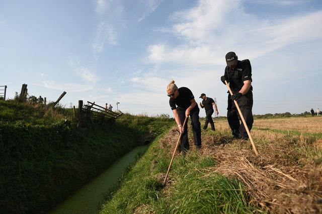 Police search a site in Cowbit, Lincolnshire