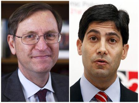 Professor Glenn Hubbard Dean of Columbia Business School (L) and Federal Reserve Governor Kevin Warsh are seen in a combination of file photos taken in New York in August 21, 2012 (L) and March 26, 2010.  REUTERS/Lucas Jackson/Files