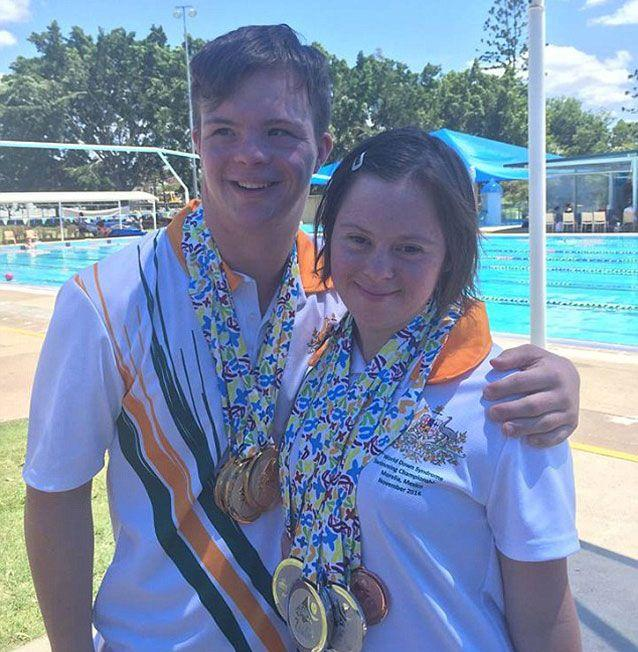 Michael Cox and Taylor Anderton are one of 22 Aussie swimming athletes headed to Florence to compete in the Trisome Games international competition for down syndrome athletes. Picture: Facebook