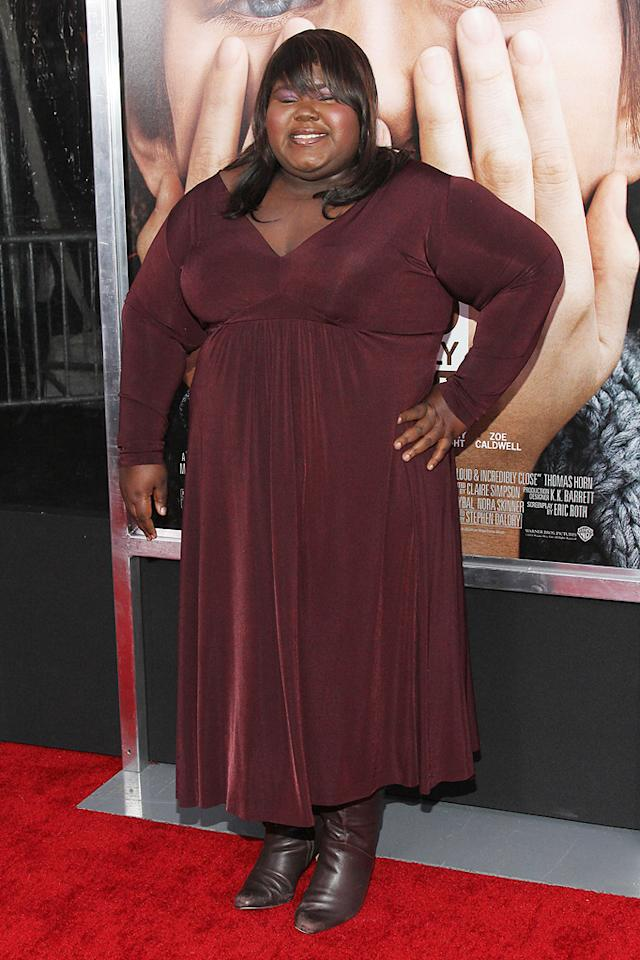 """<a href=""""http://movies.yahoo.com/movie/contributor/1810088328"""">Gabourey Sidibe</a> at the New York City premiere of <a href=""""http://movies.yahoo.com/movie/1810196550/info"""">Extremely Loud and Incredibly Close</a> on December 15, 2011."""