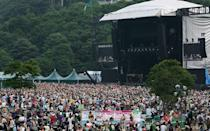 July 22-24, 2016 While not actually set near Mount Fuji, this rain-or-shine music festival (which also happens to be Japan's largest) takes place amongst the mountains at Naeba Ski Resort, where festivalgoers can rent caravans, make camp, or stay at nearby hotels, ryokans, and minshukus. This year's lineup has not yet been released, but last year, stars such as the Foo Fighters, Motörhead, Deadmau5 and FKA Twigs performed. Other highlights include a festival's-eve opening party, over 30 international food stalls, the world's longest gondola lift, and the rarest of festival amenties: clean toilets.