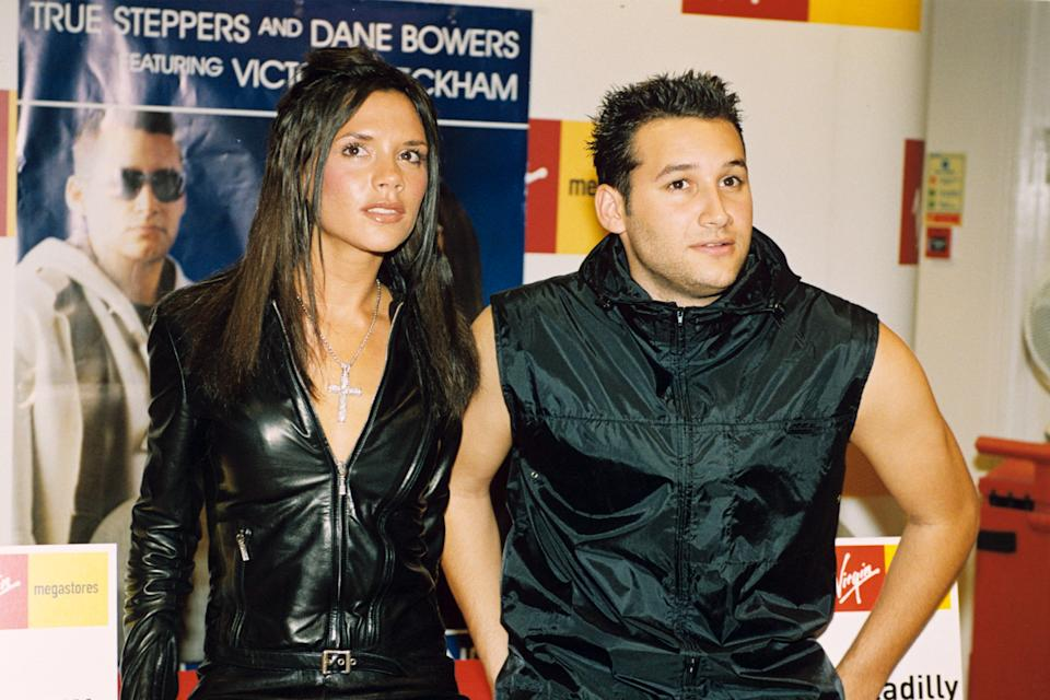 Victoria Adams Launching Record With Dane Bowers At Virgin Record, London, Britain - 2000, Victoria Beckham And Dane Bowers (Photo by Brian Rasic/Getty Images)