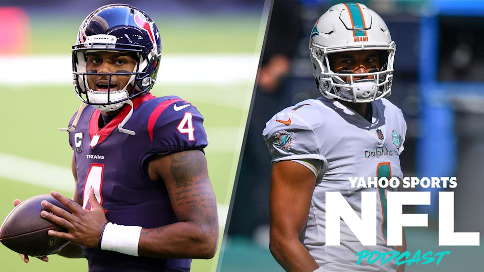 Houston Texans QB Deshaun Watson is reportedly interested in a trade to Miami, likely for Dolphins QB Tua Tagovailoa. (Photos L to R by Carmen Mandato/Mark Brown/Getty Images)