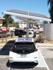 Envision Solar, Envoy, LACI and Pacoima Beautiful deploy solar-powered EV charging for on-demand shared vehicles for disadvantaged communities.