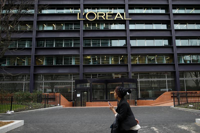 The logo of French cosmetics group L'Oreal is seen on the company's building in Clichy, near Paris