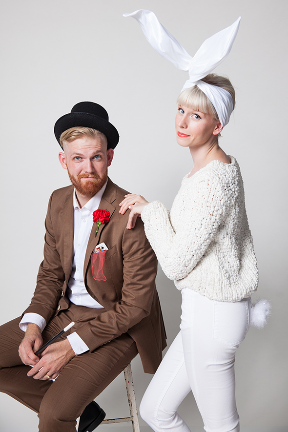 """<p>For a couples costume that's downright magical, you don't need much more than DIY bunny ears and tail, and a top hat and a deck of cards. Abracadabra!</p><p><strong>Get the tutorial at<a href=""""https://sayyes.com/2014/09/halloween-couples-costumes-magician-and-rabbit"""" rel=""""nofollow noopener"""" target=""""_blank"""" data-ylk=""""slk:Say Yes"""" class=""""link rapid-noclick-resp""""> Say Yes</a>.</strong></p><p><a class=""""link rapid-noclick-resp"""" href=""""https://go.redirectingat.com?id=74968X1596630&url=https%3A%2F%2Fwww.walmart.com%2Fip%2F2-Decks-Bicycle-Rider-Back-808-Standard-Poker-Playing-Cards-Red-and-Blue%2F670531941&sref=https%3A%2F%2Fwww.countryliving.com%2Fdiy-crafts%2Fg4616%2Fdiy-halloween-costumes-for-couples%2F"""" rel=""""nofollow noopener"""" target=""""_blank"""" data-ylk=""""slk:SHOP CARD DECKS"""">SHOP CARD DECKS</a><br></p>"""