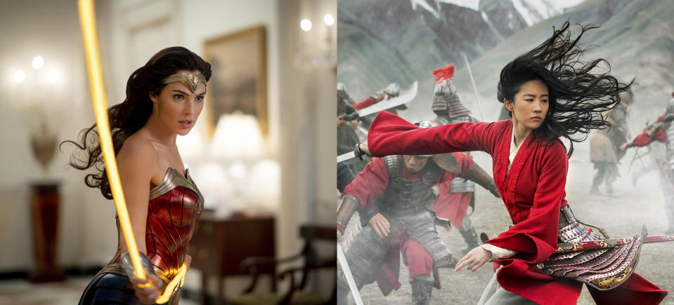 """This combination photo shows Gal Gadot in a scene from the Warner Bros. Pictures film """"Wonder Woman 1984,"""" left, and Yifei Liu in a scene from Disney's """"Mulan."""" (Warner Bros. via AP, left, and Disney via AP)"""