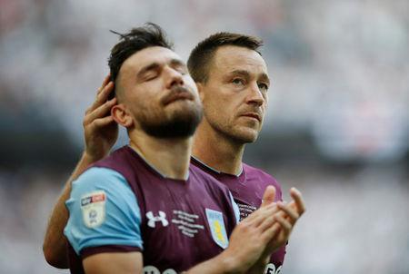Soccer Football - Championship Play-Off Final - Fulham vs Aston Villa - Wembley Stadium, London, Britain - May 26, 2018 Aston Villa's John Terry and Robert Snodgrass look dejected at the end of the match. Action Images via Reuters/Carl Recine