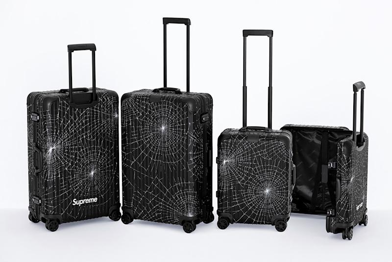 Rimowa's second collaboration with Supreme features a spiderweb graphic from one of the streetewear brand's 2016 collections.
