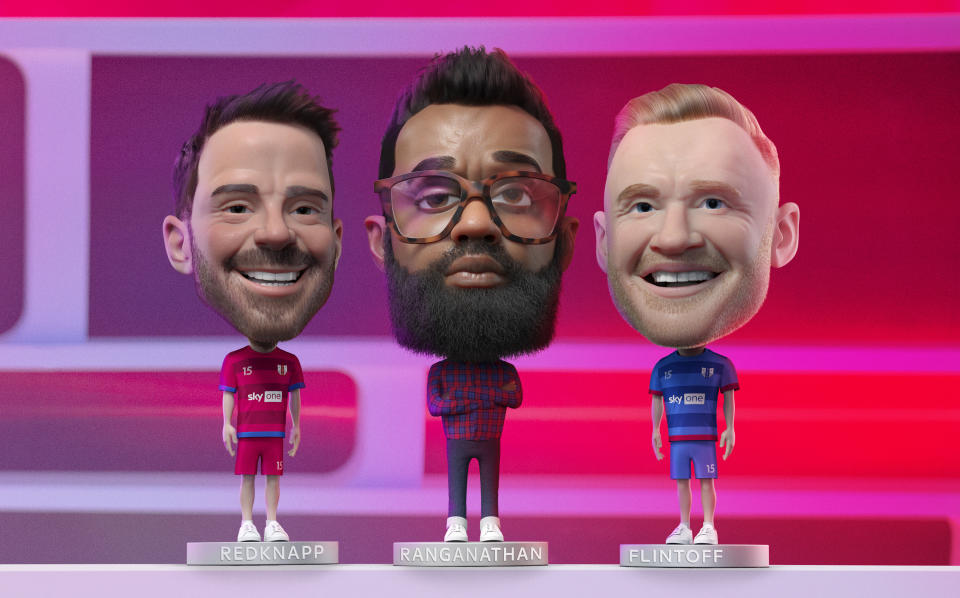 Host Romesh Ranganathan and team captains Jamie Redknapp and Freddie Flintoff return for another series of 'A League Of Their Own'. (Sky UK)