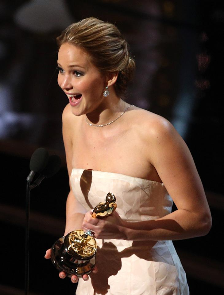 Jennifer Lawrence accepts the Best Actress award for 'Silver Linings Playbook'  onstage during the Oscars held at the Dolby Theatre on February 24, 2013 in Hollywood, California.  (Photo by Mark Davis/WireImage)