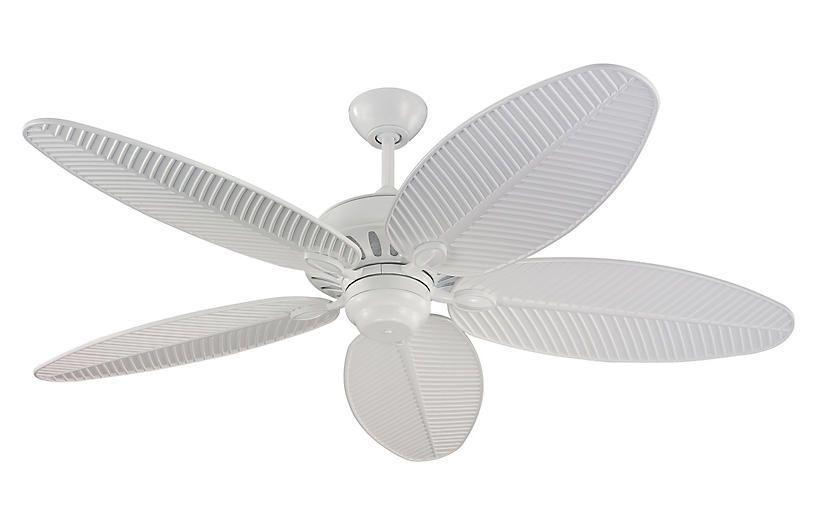 """<p><strong>monte carlo fans</strong></p><p>onekingslane.com</p><p><strong>$300.00</strong></p><p><a href=""""https://go.redirectingat.com?id=74968X1596630&url=https%3A%2F%2Fwww.onekingslane.com%2Fp%2F4758690-cruise-ceiling-fan-white.do&sref=https%3A%2F%2Fwww.housebeautiful.com%2Fshopping%2Fbest-stores%2Fg37678157%2Fone-kings-lane-15-20-percent-off-sale%2F"""" rel=""""nofollow noopener"""" target=""""_blank"""" data-ylk=""""slk:Shop Now"""" class=""""link rapid-noclick-resp"""">Shop Now</a></p><p>White, so it blends in with the ceiling paint, but with cool leaf-inspired blades that make it so much cooler than a modern one. </p>"""