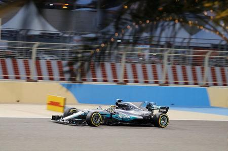 Formula One - F1 - Bahrain Grand Prix - Sakhir, Bahrain - 15/04/17 - Mercedes Formula One driver Lewis Hamilton of Britain drives during the qualifying session. REUTERS/Hamad I Mohammed
