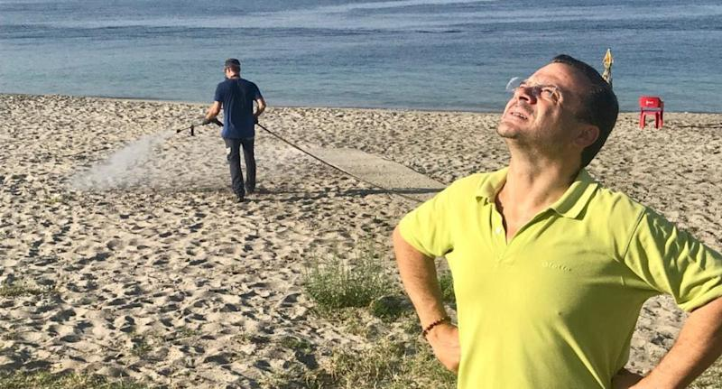Italian mayor Cateno De Luca is in hot water after disinfecting beaches. Source: Newsflash/Australscope