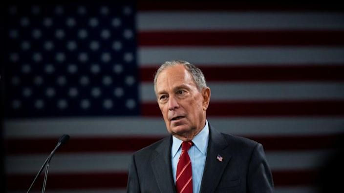 """Democratic U.S. presidential candidate Mike Bloomberg delivers a speech during the campaign event """"Women for Mike"""" in the Manhattan borough of New York City"""